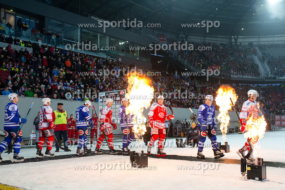 03.01.2015, Klagenfurter Wörthersee Stadion, Klagenfurt, AUT, EBEL, EC KAC vs EC VSV, 35. Runde, in picture Players going to ice rink before the Erste Bank Icehockey League 35. Round between EC KAC and EC VSV at the Klagenfurter Wörthersee Stadion, Klagenfurt, Austria on 2015/01/03. Photo by Matic Klansek Velej / Sportida