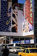 """New York. Times square. mural painting. advertising for camel cigarette. the """"new"""" Times square area and 42nd street under renovation  New York  Usa   /  peinture murale . publicite pour les cigarettes Camel .le nouveau"""" quartier de Times square et la 42 em rue en renovation New York  USa"""