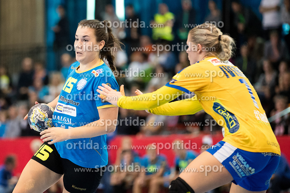 Tjasa Stanko of RK Krim Mercator during handball match between RK Krim Mercator and NFH - Nykobing Falster in Group Matches of Women's EHF Champions League 2017/18, on October 14, 2017 in Arena Kodeljevo, Ljubljana, Slovenia.