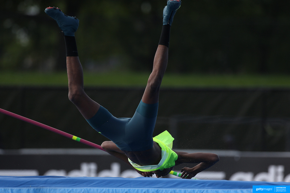 Mutaz Essa Barshim, Qatar, after his failed world record attempt during the Diamond League Adidas Grand Prix at Icahn Stadium, Randall's Island, Manhattan, New York, USA.  <br />  World champion Bodan Bondarenko of Ukraine beat world indoor champion Mutaz Essa Barshim of Qatar in an epic high jump duel at New York's Diamond League meet on Saturday. Bondarenko and Barshim both cleared 2.42 meters - the first time two athletes jumped that high in the same competition - and both took shots at 2.46. Both were unable to surpass the 21-year-old world record of 2.45 set by Cuba's Javier Sotomayor in 1993 but their leaps still marked the best height cleared since Sotomayor jumped 2.42 in 1994. Diamond League Adidas Grand Prix at Icahn Stadium, Randall's Island, Manhattan, New York, USA. 14th June 2014. Photo Tim Clayton