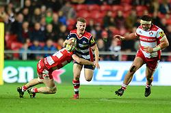 Billy Searle of Bristol Rugby is tackled  - Mandatory by-line: Dougie Allward/JMP - 24/03/2017 - RUGBY - Ashton Gate - Bristol, England - Bristol Rugby v Gloucester Rugby - Aviva Premiership