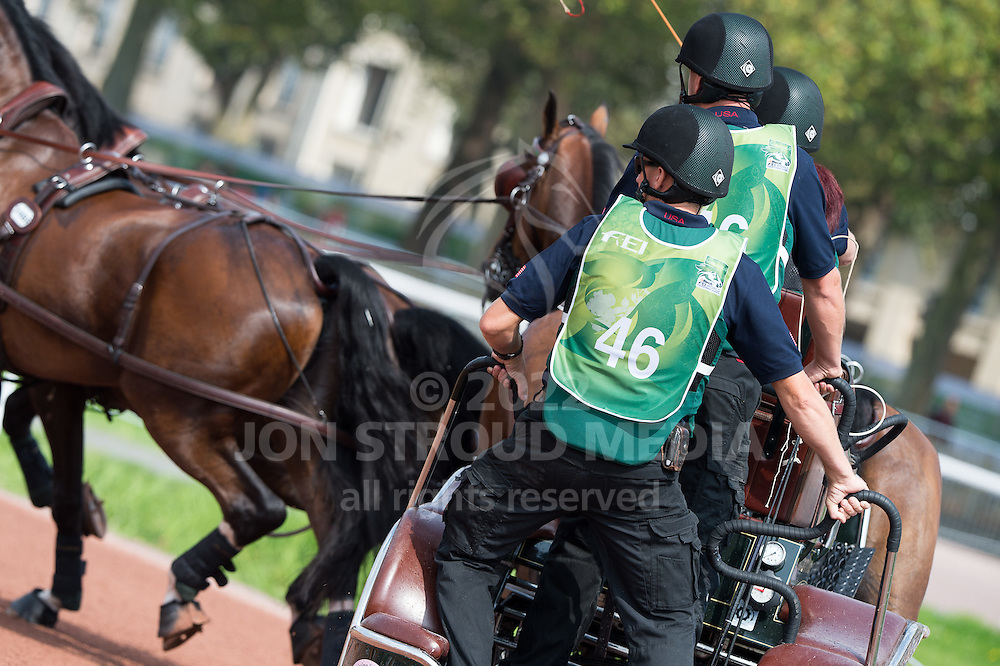 Misdee Wrigley Miller, (USA), Agusstos Armoei, Beau, Carlos, Clemens, Saco - Driving Marathon - Alltech FEI World Equestrian Games&trade; 2014 - Normandy, France.<br /> &copy; Hippo Foto Team - Jon Stroud<br /> 06/09/2014
