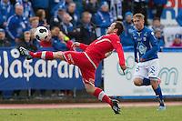 1. divisjon fotball 2014: Hødd - Tromsdalen.  Tromsdalens Hans Åge Yndestad i 1. divisjonskampen mellom Hødd og Tromsdalen på Høddvoll.