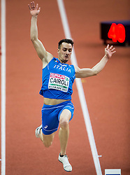 Simone Cairoli of Italy competes in the Heptathlon Long Jump Men on day two of the 2017 European Athletics Indoor Championships at the Kombank Arena on March 4, 2017 in Belgrade, Serbia. Photo by Vid Ponikvar / Sportida