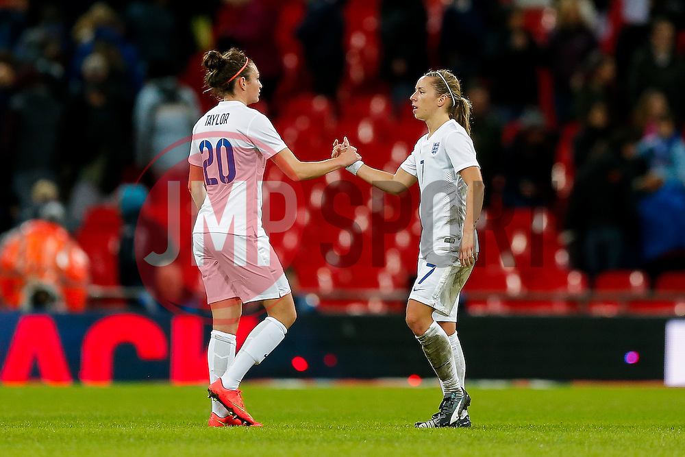 Jodie Taylor and Jordan Nobbs of England look frustrated after Germany win the game 0-3 - Photo mandatory by-line: Rogan Thomson/JMP - 07966 386802 - 23/11/2014 - SPORT - WOMEN'S FOOTBALL - Wembley Stadium - England v Germany - Breast Cancer Care International Friendly Match.