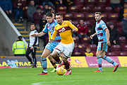 3rd November 2018, Fir Park, Motherwell, Scotland; Ladbrokes Premiership football, Motherwell versus Dundee; Ryan Bowman of Motherwell and Darren O'Dea of Dundee