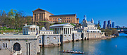 Museum of Art, Waterworks, Building, Skyline, Phila. PA, Panorama, Sculling Crew, CGI