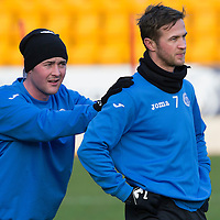 St Johnstone Training....30.12.14<br /> Match winer against Dundee United, Chris Millar warms-up in training with Tam Scobbie ahead of the New Years Day game at Aberdeen<br /> Picture by Graeme Hart.<br /> Copyright Perthshire Picture Agency<br /> Tel: 01738 623350  Mobile: 07990 594431