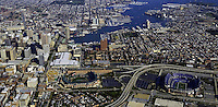 Aerial and ground views of the Baltimore Inner Harbor Areas of Maryland