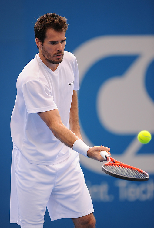 Brisbane, Australia, December 30: Tommy Haas of Germany stops the ball with his racquet during a training session at Pat Rafter Arena ahead of the 2012 Brisbane International Tennis Tournament in Brisbane, Australia on Friday December 30th, 2011. (Photo: Matt Roberts/Photo News)