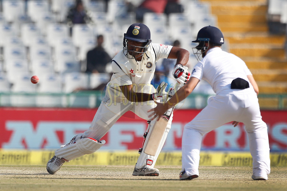 Jayant Yadav of India plays a shot during day 3 of the third test match between India and England held at the Punjab Cricket Association IS Bindra Stadium, Mohali on the 28th November 2016.<br /> <br /> Photo by: Deepak Malik/ BCCI/ SPORTZPICS