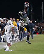 WEST LAFAYETTE, IN - SEPTEMBER 15: Elijah Sindelar #2 of the Purdue Boilermakers goes up and makes the interception of the pass intended for Khmari Thompson #1 of the Missouri Tigersduring the fourth quarter of the game against the Missouri Tigers at Ross-Ade Stadium on September 15, 2018 in West Lafayette, Indiana. (Photo by Michael Hickey/Getty Images) *** Local Caption *** Elijah Sindelar; Khmari Thompson NCAA Football - Purdue Boilermakers vs Missouri Tigers at Ross-Ade Stadium in West Lafayette, Indiana. Sports photographer by Michael Hickey