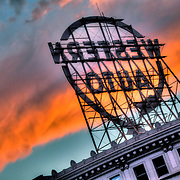 Rear view of Kansas City's Western Auto sign at sunset.