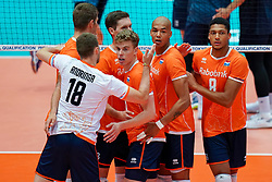 11-08-2019 NED: FIVB Tokyo Volleyball Qualification 2019 / Netherlands - USA, Rotterdam<br /> Final match pool B in hall Ahoy between Netherlands vs. United States (1-3) and Olympic ticket  for USA / Gijs van Solkema #15 of Netherlands, Nimir Abdelaziz #14 of Netherlands, Fabian Plak #8 of Netherlands