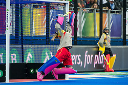 Spain's Maria Lopez De Eguilaz Zubira comes on for a German penalty stroke, but fails to save it while Maria Ruiz looks on. Germany v Spain - 3rd/4th Playoff Unibet EuroHockey Championships, Lee Valley Hockey & Tennis Centre, London, UK on 30 August 2015. Photo: Simon Parker