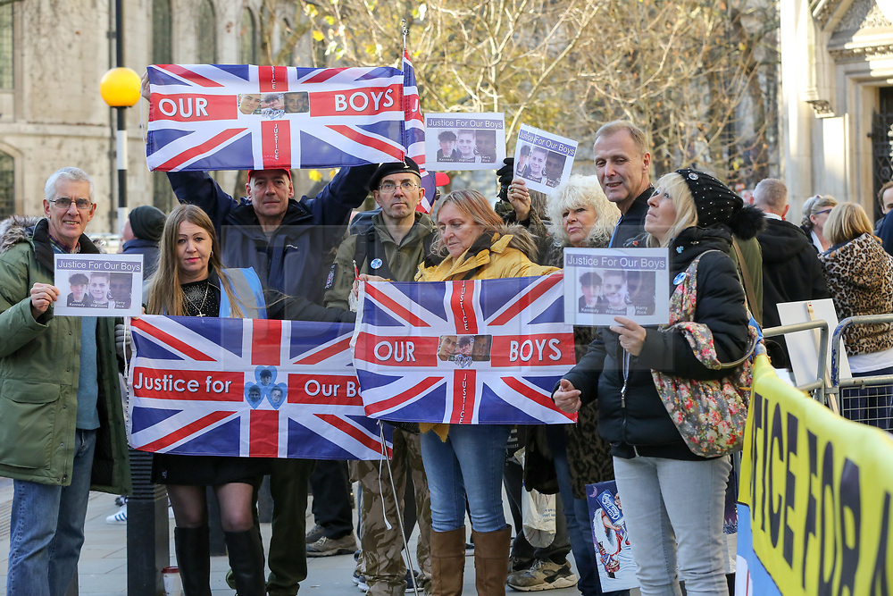 © Licensed to London News Pictures. 4/11/2018. London, UK. Supporters of Josh Kennedy aged 16, Harry Rice aged 17 and George Wilkinson aged 16, who were killed on the 26 January 2018 in Hayes, west London following a car crash gather outside Royal Courts of Justice as the court hears Jaynesh Chudasama's appeal to reduce the sentence passed by Old Bailey early this year. The protesters are calling for stiffer sentences for dangerous drivers.<br /> Jaynesh Chudasama 28, of Hayes was more than two and a half times over the drink-driving limit when he ran over three teenage boys as they walked to a party was jailed for 13 years in March 2018.<br /> <br /> Photo credit: Dinendra Haria/LNP