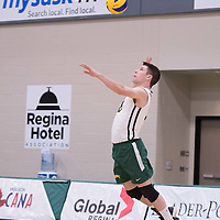 4th year libero Dylan Smith (8) of the Regina Cougars in action during men's Volleyball home game on January 21 at Centre for Kinesiology, Health and Sport. Credit: Credit: Arthur Ward/Arthur Images