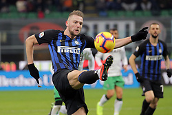 January 19, 2019 - Milan, Milan, Italy - Milan Skriniar #37 of FC Internazionale Milano in action during the serie A match between FC Internazionale and US Sassuolo at Stadio Giuseppe Meazza on January 19, 2019 in Milan, Italy. (Credit Image: © Giuseppe Cottini/NurPhoto via ZUMA Press)