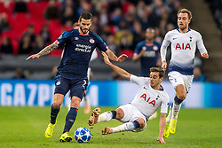 November 6, 2018 - London, Greater London, England - Harry Winks of Tottenham Hotspur tackles Gastón Pereiro of PSV Eindhoven during the UEFA Champions League Group Stage match between Tottenham Hotspur and PSV Eindhoven at Wembley Stadium, London, England on 6 November 2018. Photo by Salvio Calabrese. (Credit Image: © AFP7 via ZUMA Wire)