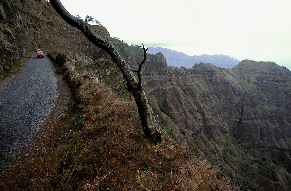 """The twisted """"Estrada da Corda"""" (Rope road"""" meanders through the deep valleys and cliffs in the northeast zone of Santo Antao island."""