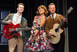 """© Licensed to London News Pictures. 01/09/2015. London, UK. Alison Arnopp as Dusty (with cast members). Photocall for the new British musical """"DUSTY"""", a world premiere. DUSTY, is about the rise to fame of 1960s superstar Dusty Springfield. The show is currently previewing in the West End at Charing Cross Theatre. Alison Arnopp stars as Dusty Springfield/Mary O'Brien. Photo credit : Bettina Strenske/LNP"""