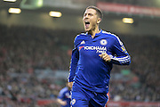 Eden Hazard (Chelsea) celebrates in front of the Kop, 1-0 during the Barclays Premier League match between Liverpool and Chelsea at Anfield, Liverpool, England on 11 May 2016. Photo by Mark P Doherty.
