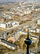 High-angle view of Vilnius, Lithuania; taken from the Vilnius TV Tower.