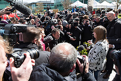 © Licensed to London News Pictures. 26/04/2016. Warrington, UK. MARGARET ASPINALL speaking to press outside the court after the jury delivers their verdicts at the Hillsborough Inquest, at the coroner's court at Birchwood Park.  Photo credit: Joel Goodman/LNP