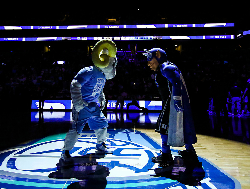 Ramses and Blue Devil face off at center court during the semifinals of the 2017 New York Life ACC Tournament at the Barclays Center in Brooklyn, N.Y., Friday, March 10, 2017. (Photo by David Welker, theACC.com)