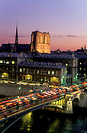 France. Paris. 4th district. Elevated view.  Notre dame cathedral and the Seine river bridges. view from  the theatre de la ville