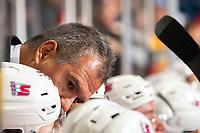 KELOWNA, BC - SEPTEMBER 21:  Spokane Chiefs' head coach Manny Viveiros speaks to players on the bench against the Kelowna Rockets at Prospera Place on September 21, 2019 in Kelowna, Canada. (Photo by Marissa Baecker/Shoot the Breeze)