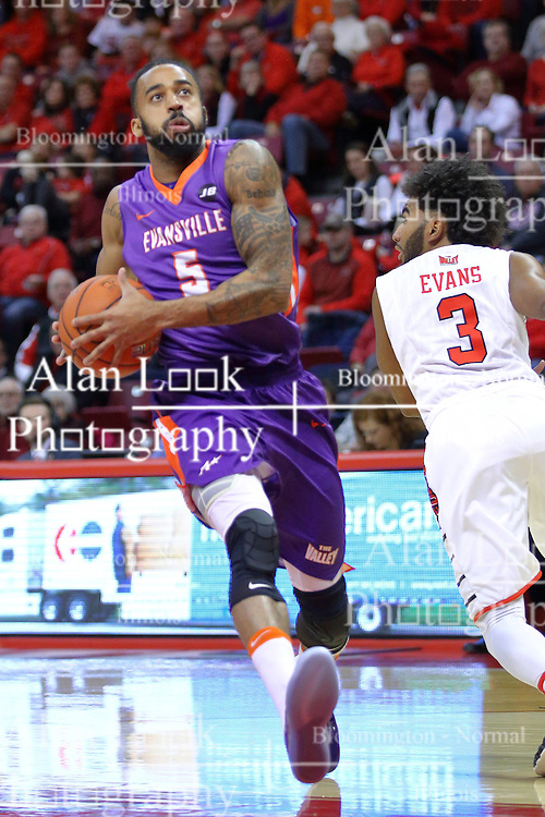 29 December 2016:  Soloman Hainna during an NCAA  MVC (Missouri Valley conference) mens basketball game between the Evansville Purple Aces the Illinois State Redbirds in  Redbird Arena, Normal IL
