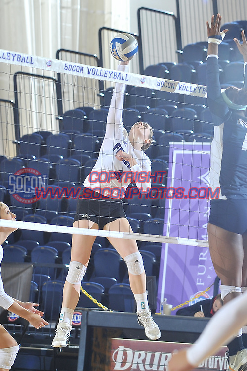 24 November 2014: The Southern Conference hosted their 2014 volleyball championship, Monday at UNCG in Greensboro, North Carolina.  Samford 3, Furman 1. Credit: Todd Drexler/SoConPhotos.com