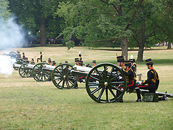The King's Troop Royal Horse Artillery fire their gun carriages near Buckingham Palace in a 41 Royal Gun Salute to mark the birth of a new Royal baby,<br /> London, United Kingdom<br /> Tuesday, 23rd July 2013<br /> Picture by Max Nash / i-Images