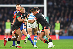 November 11, 2017 - London, England, United Kingdom - England's Anthony Watson and England's Jonathan Joseph make their tackles during Old Mutual Wealth Series between England against Argentina at Twickenham stadium , London on 11 Nov 2017  (Credit Image: © Kieran Galvin/NurPhoto via ZUMA Press)