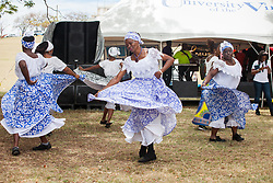 "The Macislyn Bamboula Dancers entertain the audience.  The University of the Virgin Islands hosts ""A Centennial Celebration of Delicacies for the Afternoon on the Green 2017 in celebration of the Virgin Islands Centennial and UVI's 55th anniversary.  Herman E. Moore Golf Course.  University of the Virgin Islands.  19 March 2017.  © Aisha-Zakiya Boyd"