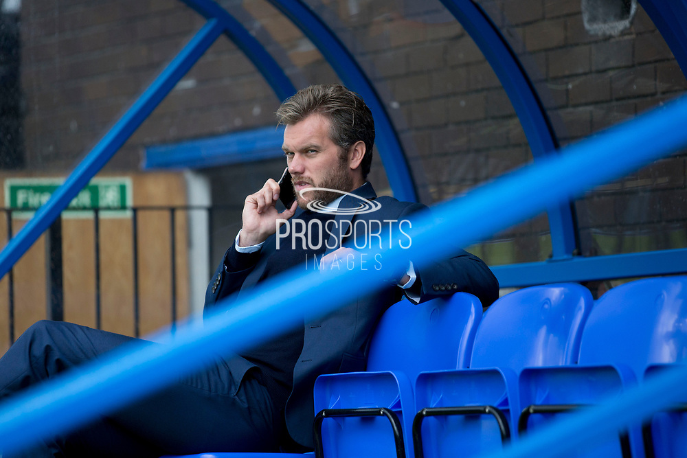 Macclesfield Town manager Daryl McMahon                                                                                           during the EFL Sky Bet League 2 match between Macclesfield Town and Colchester United at Moss Rose, Macclesfield, United Kingdom on 28 September 2019.