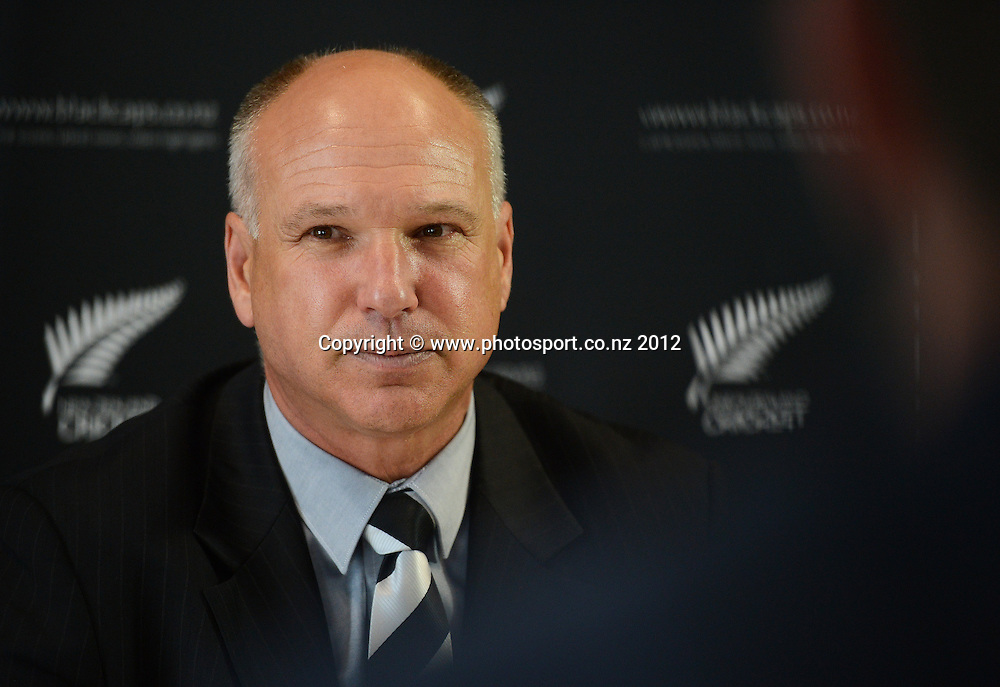 CEO of New Zealand Cricket David White during a press conference announcing Ross Taylor's sacking as New Zealand Cricket Captain and announcing Brendon McCullum as his replacement. Friday 7 December 2012. Photo: Andrew Cornaga/Photosport.co.nz