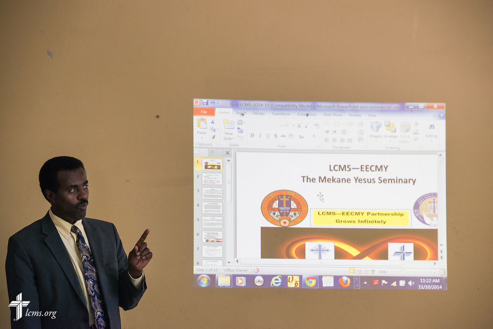 Mekane Yesus Seminary President Rev. Dr. Belay Gula  gives a presentation to an LCMS delegation on Monday, Nov. 10, 2014, at the seminary in Addis Ababa, Ethiopia. LCMS Communications/Erik M. Lunsford