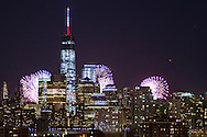 Independence Day. America's 238th birthday celebrated over Lower Manhattan with the new World Trade Center in the foreground.