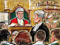 ©PRISCILLA COLEMAN (ITV): 03.11.03.SUPPLIED BY PHOTONEWS SERVICE LTD:.PIC SHOWS: RICHARD LATHAM QC, AT THE OLD BAILEY WHERE THE TRIAL OF IAN HUNTLEY AND MAXINE CARR IS TAKING PLACE OVER THE MURDERS OF HOLLY WELLS AND JESSICA CHAPMAN. JUSTICE MOSES IS SHOWN PRESIDING WITH MAXINE CARR AND IAN HUNTLEY SHOWN FROM THE BACK SEPERATED BY SECURITY GUARDS..PIC BY: PRISCILLA COLEMAN (ITV)