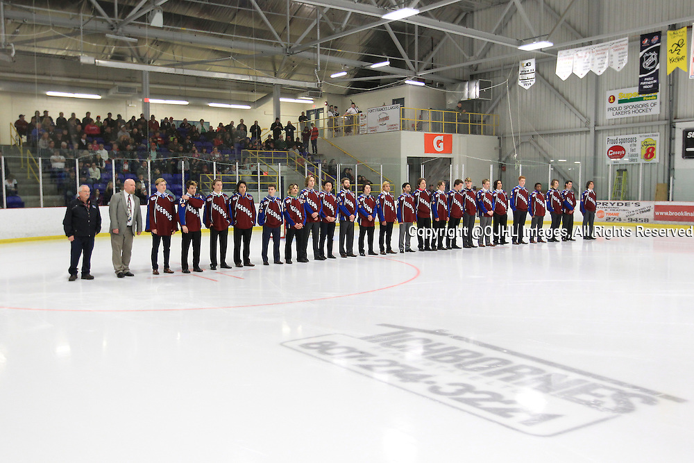 FORT FRANCES, ON - Apr 28, 2015 : Central Canadian Junior &quot;A&quot; Championship, game action between theToronto Patriots and the Fort Francis Lakers, game two of the Dudley Hewitt Cup. Dryden GM Ice Dogs during the opening ceremonies.<br /> (Photo by Tim Bates / OJHL Images)