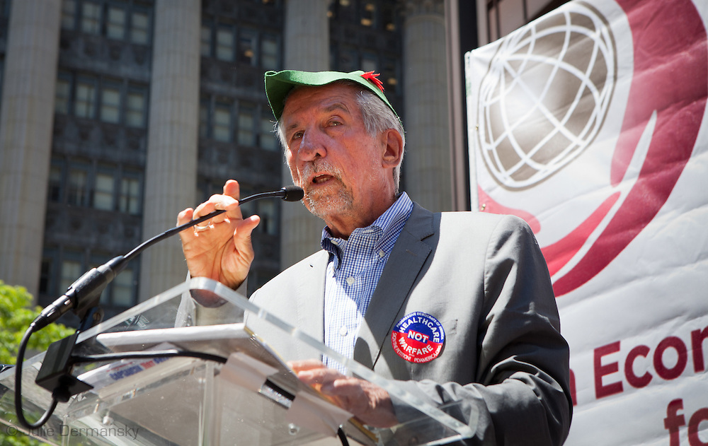 "Activst, Tom Hayden speaks at a rally held by members of National Nurses United in Chicago's Daley Plaza, on May 18th, 2012 on the 5th straight day of protests against the NATO summit that will be held May 20-21.  The Nurses , joined by members of Occupy Wall Street from all across the country, demanded a ""Robin Hood"" tax on banks' financial transactions to help cover the cost of health care."