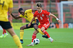 WREXHAM, WALES - Friday, September 6, 2019: Wales' Wales' Robbie Burton (R) and Belgium's Albert Sambi Lokonga during the UEFA Under-21 Championship Italy 2019 Qualifying Group 9 match between Wales and Belgium at the Racecourse Ground. (Pic by Laura Malkin/Propaganda)