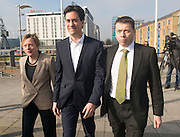 © Licensed to London News Pictures.01/03/2014. LONDON, UK (L-R)  Angela Eagle, Ed Miliband, Iain McNicol. The Labour Party Special conference today at Excel London on 1st March 2014.  Photo credit : Stephen Simpson/LNP