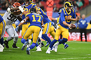 LA Rams Quarterback Jared Goff (16)  wheels away with the football during the International Series match between Los Angeles Rams and Cincinnati Bengals at Wembley Stadium, London, England on 27 October 2019.