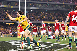 © Licensed to London News Pictures. 29/6/2013. Adam Ashley-Cooper celebrates after scoring the winning try during the British & Irish Lions 2nd test between Qantas Wallabies Vs British & Irish Lions at Etihad Stadium, Melbourne, Australia. Photo credit : Asanka Brendon Ratnayake/LNP