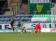 27th August 2017, Dens Park, Dundee, Dundee; Scottish Premier League football, Dundee versus Hibernian; Dundee goalkeeper Scott Bain saves from Hibernian's Brandon Barker