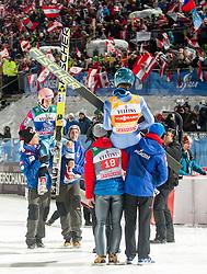06.01.2015, Paul Ausserleitner Schanze, Bischofshofen, AUT, FIS Ski Sprung Weltcup, 63. Vierschanzentournee, Finale, im Bild v.l. Stefan Kraft (AUT), Michael Hayboeck (AUT) // 1st placed overall standing Stefan Kraft ( L ) of Austria and 1st placed of the day Michael Hayboeck of Austria ( R ) after the Final of 63rd Four Hills Tournament of FIS Ski Jumping World Cup at the Paul Ausserleitner Schanze, Bischofshofen, Austria on 2015/01/06. EXPA Pictures © 2015, PhotoCredit: EXPA/ Johann Groder