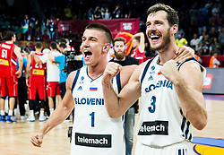 Matic Rebec of Slovenia and Goran Dragic of Slovenia celebrating after winning during the Final basketball match between National Teams  Slovenia and Serbia at Day 18 of the FIBA EuroBasket 2017 when Slovenia became European Champions 2017, at Sinan Erdem Dome in Istanbul, Turkey on September 17, 2017. Photo by Vid Ponikvar / Sportida